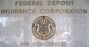 FDIC seal in front of the headquarters buildin...