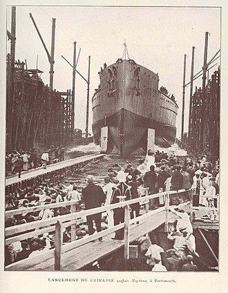 HMS Neptune (1909) - Neptune being launched, 30 September 1909