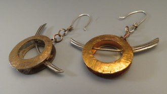 Jewellery design - Fabricated Copper and Nugold earrings