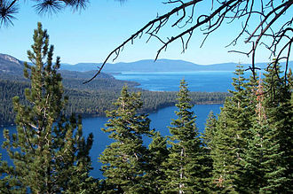 Lake Tahoe - Fallen Leaf Lake and Lake Tahoe in background from Angora Ridge Rd. to the Angora Lakes Resort