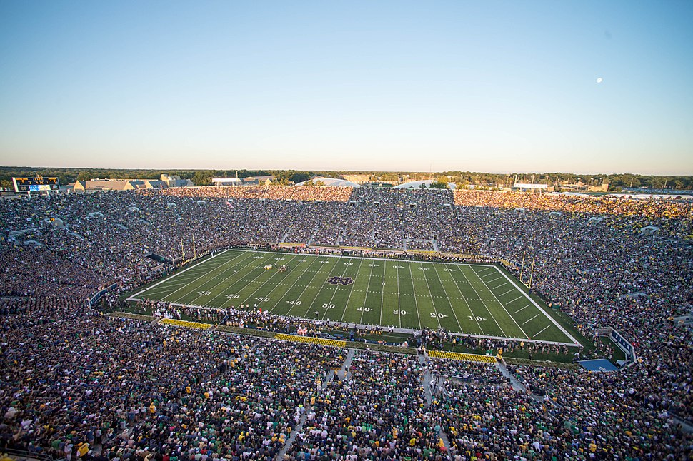 Fans and players gather for a football game Sept. 6, 2014, at Notre Dame Stadium in South Bend, Ind 140906-D-KC128-220