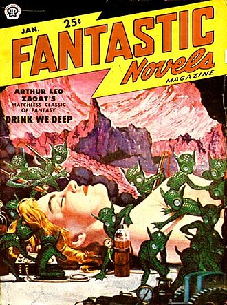 Little green men - Extraterrestrials in Arthur Leo Zagat's novel Drink We Deep depicted as little green men on the cover of the January 1951 issue of Fantastic Novels