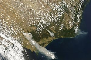 Black Saturday bushfires - Image: February 7 Victoria Bushfires MODIS Aqua