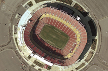 A satellite view of Jack Kent Cooke Stadium
