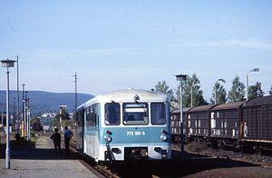 "Frose–Quedlinburg railway - So-called ''Ferkeltaxe'' (""piglet taxis"") in Gernrode station (looling towards Quedlinburg)"