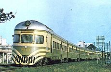 The first 7131 railcars painted in green and ochre, c. 1963.
