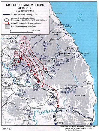 First and Second Battles of Wonju - Image: First and Second Battle of Wonju Map