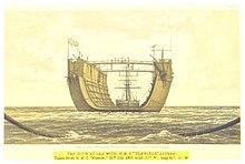 Velké plavidlo ve tvaru písmene U na volném moři tažené plachetnicí.