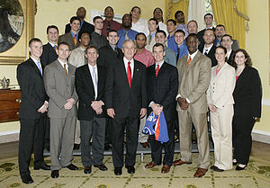 Florida Gators men's basketball - The 2005–06 Gator's basketball team with President George W. Bush at the White House following their national championship.