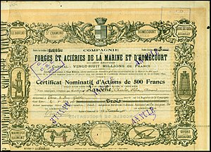 Compagnie des forges et aciéries de la marine et d'Homécourt - Share of the Comp. des Forges et Aciéries de la Marine et d'Homécourt SA, issued 12. November 1915