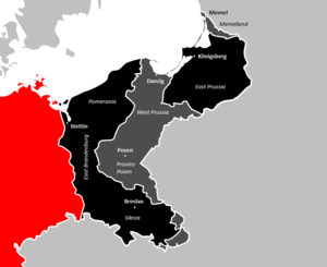 Former eastern territories of Germany - Former eastern territories of Germany lost in World War I and II are shown in grey and black, respectively. The present-day Federal Republic of Germany is marked in red.