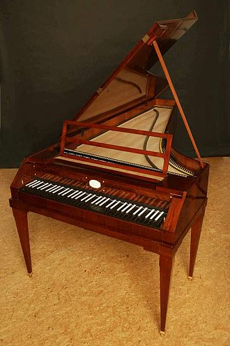 Malcolm Bilson - A modern fortepiano built by Paul McNulty in imitation of a historical instrument by Anton Walter. The smaller size, smaller range, and lighter construction of the fortepiano, relative to the modern grand, can be seen.