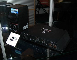 EtherSound - Left: Fostex NetCIRA ES6300 – active speaker receiver which receives audio data converted to EtherSound protocol; right: Fostex NetCIRA ES-2PRO – EtherSound to analog audio converter