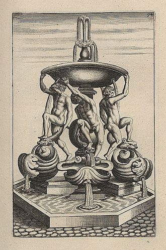 Fontana delle Tartarughe - A copy of an engraving of the fountain made in 1664. It does not show the turtles, which were added in 1658 or 1659 when the fountain was restored.