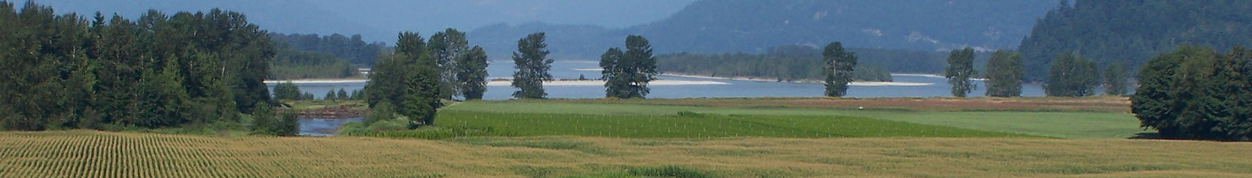 Farms and the Fraser River near Agassiz, BC