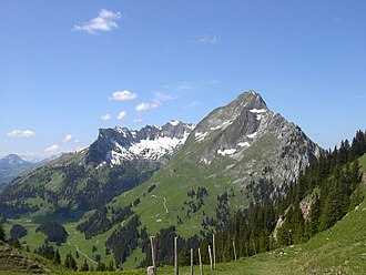 Canton of Fribourg - Fribourg Prealps: Dent de Brenleire (2358 m, to the right) and Vanil Noir (2389 m, in the background)