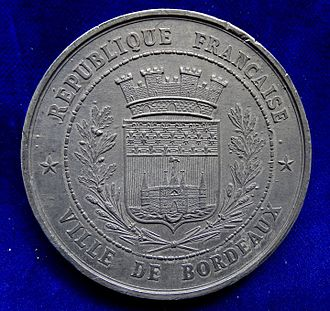 National Assembly (1871) - Numismatic reference of the first decisions of the French National Assembly at Bordeaux in February and March 1871, obverse.