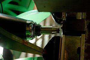 Friction stir welding - Close-up view of a friction stir weld tack tool.