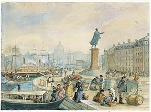 Skeppsbrokajen - Watercolour of Skeppsbron and the statue of Gustav III by Fritz von Dardel, 1860.