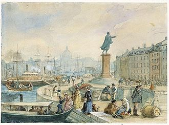Skeppsbron - Watercolour of Skeppsbron and the statue of Gustav III by Fritz von Dardel, 1860.