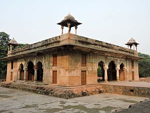 Roshanara Bagh - Front and left side view of tomb of Roshanara Begum