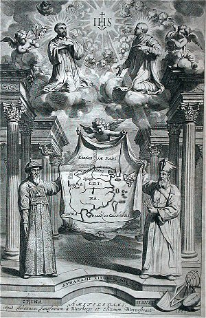 Catholic missions - Above: Francis Xavier (left), Ignatius of Loyola (right) and Christ at the upper center. Below: Matteo Ricci (right) and Xu Guangqi (left), all in dialogue towards the evangelization of China.