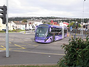 Ftrmetro Swansea - An FTR bus travelling south from Ffordd y Gollewin towards the Civic Centre