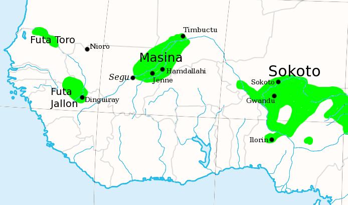 Fula jihad states map general c1830