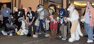 Furry fandom - Furry fans prepare for a race at Midwest FurFest 2006