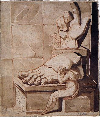 Neoclassicism - Henry Fuseli, The artist moved to despair at the grandeur of antique fragments, 1778–79