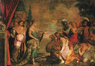 Circe in the arts - An Italian fresco of Circe returning the followers of Ulysses to human form, c.1610
