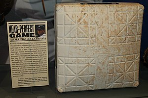 Armando Galarraga's near-perfect game - First base used at Comerica Park in Detroit, on the occasion of Armando Galarraga's near-perfect game. Baseball Hall of Fame, Cooperstown, New York