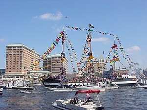 José Gaspar - The pirate ship José Gasparilla sailing into downtown Tampa to begin the Gasparilla parade