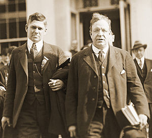 Seymour Stedman - Boston Socialist George Roewer and Stedman leaving Atlanta Federal Penitentiary, where they visited presidential nominee Gene Debs, May 1920.