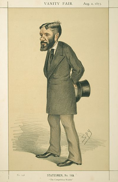 """The Competition Wallah"". Caricature by Spy published in Vanity Fair in 1873. George Otto Trevelyan, Vanity Fair, 1873-08-02.jpg"