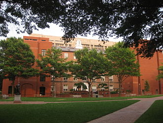 George Washington University Law School - Lerner Hall, Stockton Hall, and the Burns Law Library, with the IMF seen in the background.