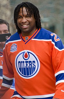Georges Laraque in 2016 playing for the Oilers