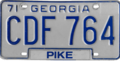 Georgia license plate, 1971–1975 series (Pike County).png