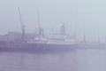 German passenger ship Bremen in the fog at the Columbus terminal in Bremerhaven - 1966.png