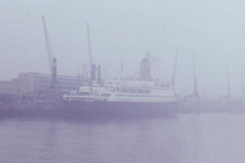 File:German passenger ship Bremen in the fog at the Columbus terminal in Bremerhaven - 1966.png