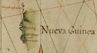 Willem Janszoon - Hessel Willem Janszoon's Vliege Bay, Dubbelde Rev., R. Visch, and Cape Keerweer on the coast of Nueva Guinea on Hessel Gerritszoon's map of the Pacific Ocean, 1622.