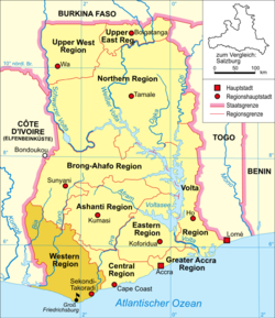 Location of Groß-Friedrichsburg within Gold Coast, modern-day Ghana, marked by the black dot and flag.