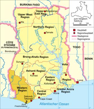 Brandenburger Gold Coast - Image: Ghana karte gross friedrichsburg