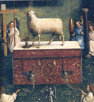 Sacrificial lamb - Ghent Altarpiece by Jan van Eyck