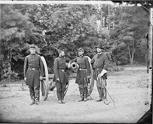 U.S. Horse Artillery Brigade - Officers of Battery C, 3rd U.S. Artillery. L-R: Meinell, Gibson, Pendleton, and Fuller. Photo by James F. Gibson. Library of Congress