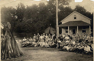 Gifford Pinchot - Pinchot visiting summer campers attending the School of Forestry camp at Grey Towers (Pinchot is with the dog), 1910