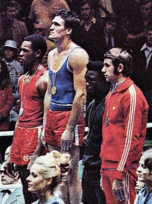 Boxing at the 1972 Summer Olympics - Left-right: Gilberto Carrillo, Mate Parlov, Isaac Ikhouria, Janusz Gortat