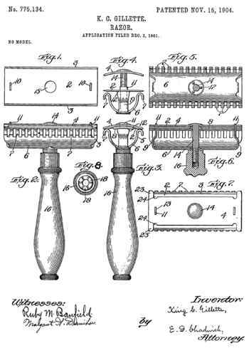 English: Front page of Gillette's razor patent.