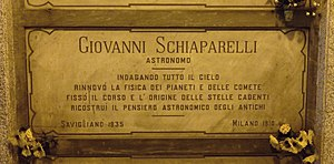 Giovanni Schiaparelli - Schiaparelli's grave at the Monumental Cemetery of Milan, Italy