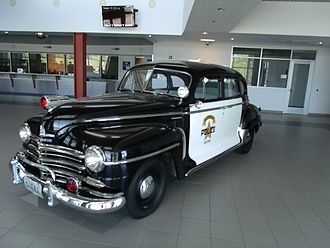 Plymouth (automobile) - 1947 Plymouth police car of Glendale Police Dept. Arizona
